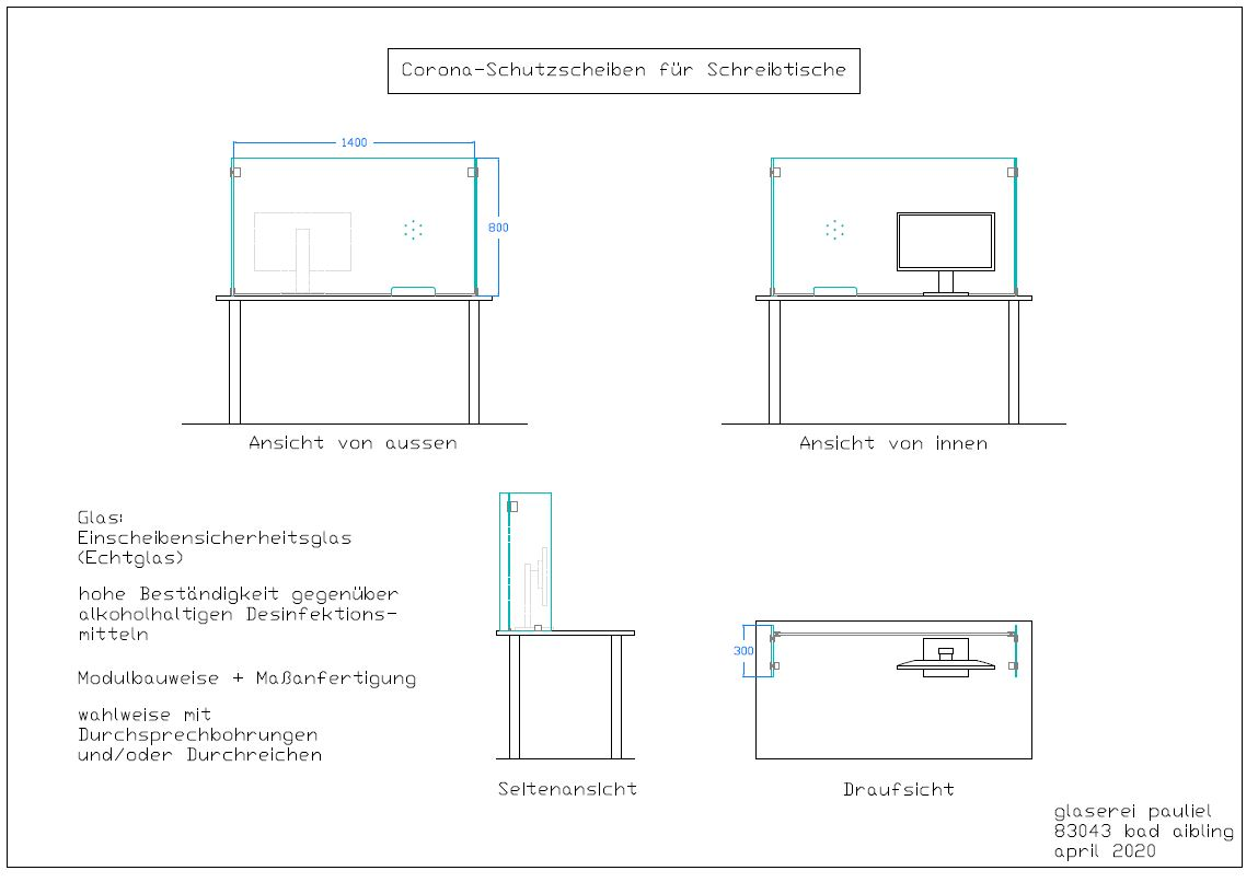 Corona-Schutzglas für Schreibtische